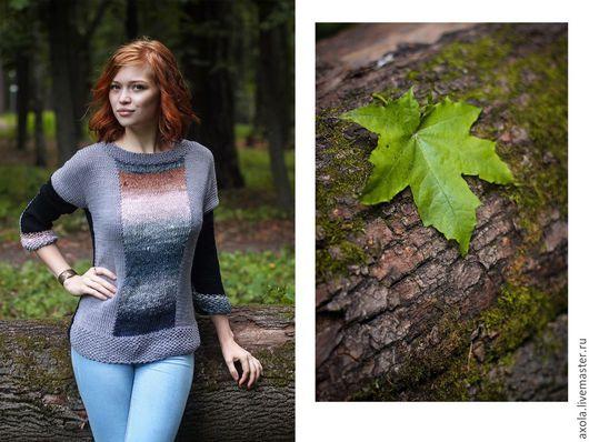 """Кофты и свитера ручной работы. Ярмарка Мастеров - ручная работа. Купить Пуловер """"Мгновение"""". Handmade. Разноцветный, 60% шёлк"""