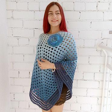 Одежда ручной работы. Ярмарка Мастеров - ручная работа Пончо синее омбре. Handmade.