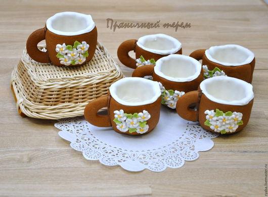 """Кулинарные сувениры ручной работы. Ярмарка Мастеров - ручная работа. Купить """"Весенние цветы"""" - пряничные чашечки для кофе или чая. Handmade."""