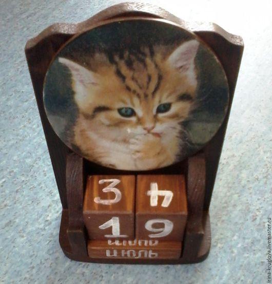 """Календари ручной работы. Ярмарка Мастеров - ручная работа. Купить Вечный  календарь - """"котенок Филя"""". Handmade. Коричневый, филя"""