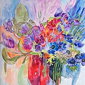 Pictures handmade. Livemaster - original item Painting acrylic Bouquet with tulips. Handmade.