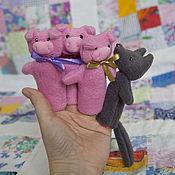 Куклы и игрушки ручной работы. Ярмарка Мастеров - ручная работа Пальчиковый театр. Три поросенка.. Handmade.