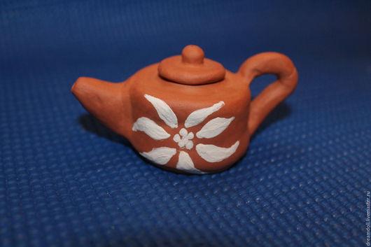 Миниатюра ручной работы. Ярмарка Мастеров - ручная работа. Купить Маленький глиняный чайник. Handmade. Терракотовый цвет, терракотовая глина