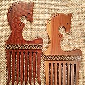 Украшения handmade. Livemaster - original item Crest Red horse, with mosaic, layswood Apple tree,wooden comb. Handmade.