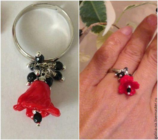 Кольца ручной работы. Ярмарка Мастеров - ручная работа. Купить Кольцо лэмпворк Красный мак. Handmade. Красный, стеклянный цветок