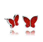 Украшения handmade. Livemaster - original item Stud earrings bright red butterfly stylish gift