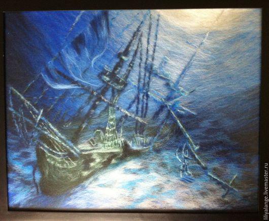 """Пейзаж ручной работы. Ярмарка Мастеров - ручная работа. Купить картина из шерсти """"А."""". Handmade. Синий, картина на заказ"""