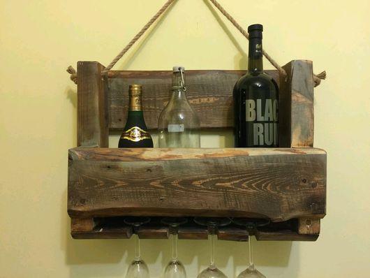 Мебель ручной работы. Ярмарка Мастеров - ручная работа. Купить Подвесная полка для напитков. Handmade. Полка для алкоголя, массив дерева