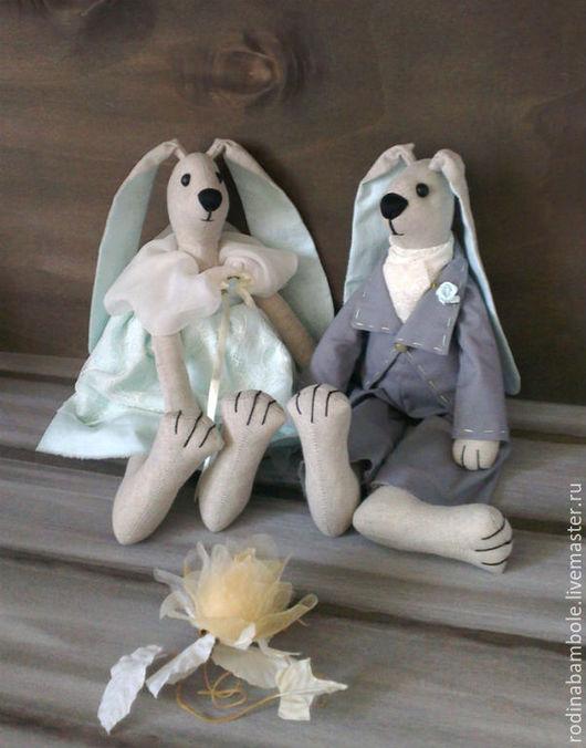 Игрушки животные, ручной работы. Ярмарка Мастеров - ручная работа. Купить Свадебные зайцы Бирюзовая любовь. Handmade. Свадебные зайцы