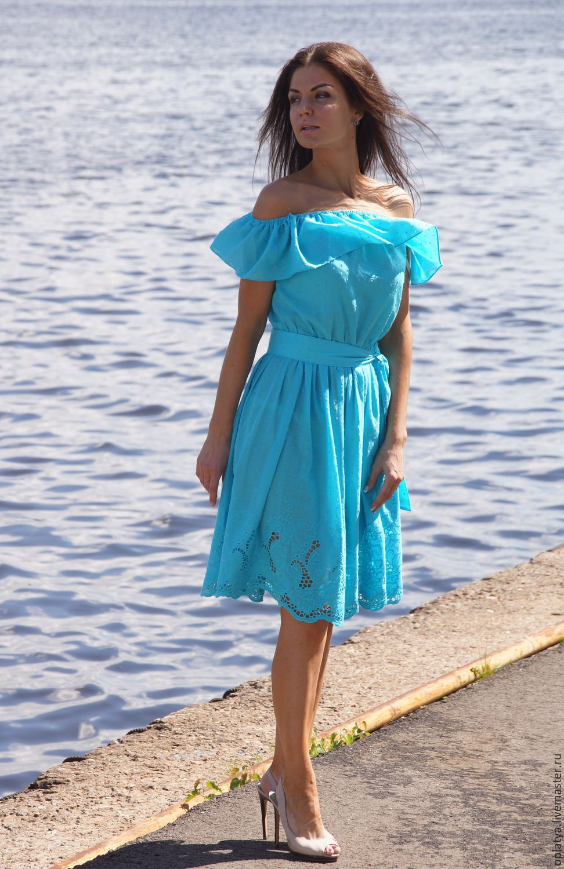 Голубое короткое платье летнее