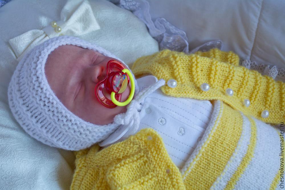 Вязание комплектов для новорожденных спицами 6