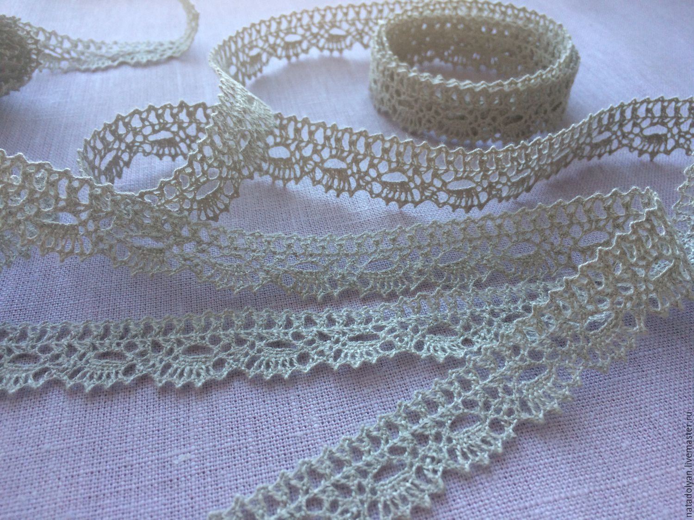 Lace linen 'Narrow tracery of grey' 15mm, Lace, Ivanovo,  Фото №1