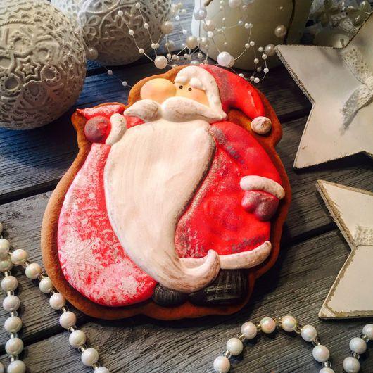 Кулинарные сувениры ручной работы. Ярмарка Мастеров - ручная работа. Купить Пряник новогодний Санта 2. Handmade. Комбинированный, пряники