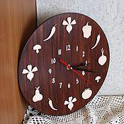 """Для дома и интерьера ручной работы. Ярмарка Мастеров - ручная работа Часы настенные """"На кухню"""" большие, деревянные. Handmade."""