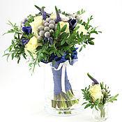 """Цветы и флористика ручной работы. Ярмарка Мастеров - ручная работа Букет невесты """"Бело - синий"""" из живых цветов. Handmade."""