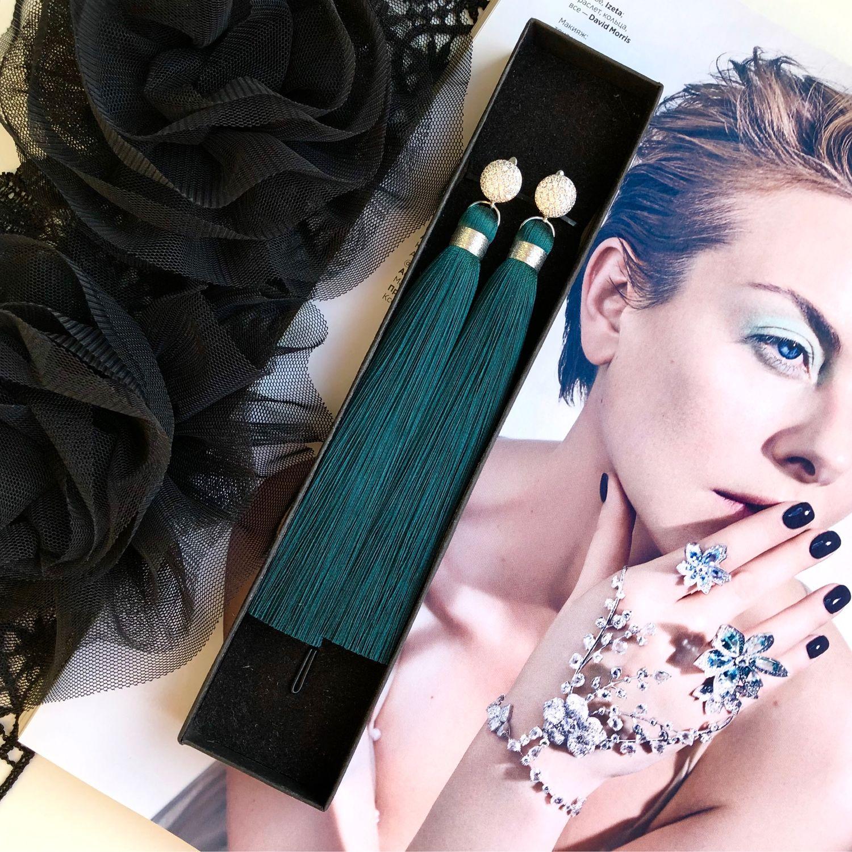 Earrings brush dark green emerald silk pearl gold plated, Tassel earrings, St. Petersburg,  Фото №1