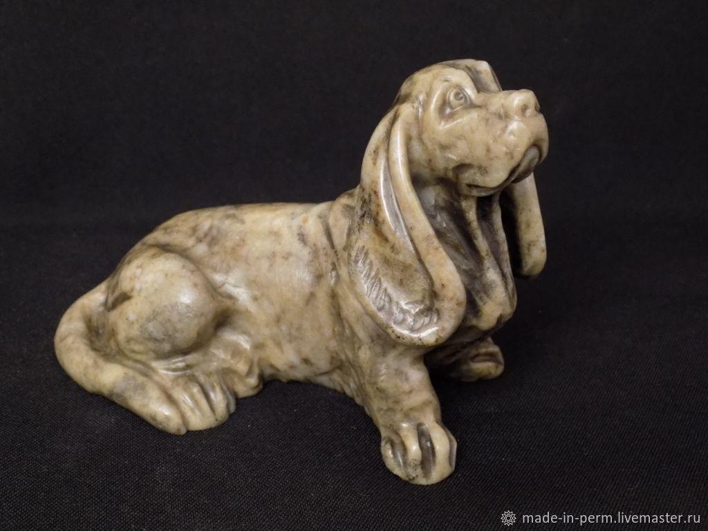 Собака Спаниель - статуэтка из камня Кальцит, Статуэтки, Орда,  Фото №1