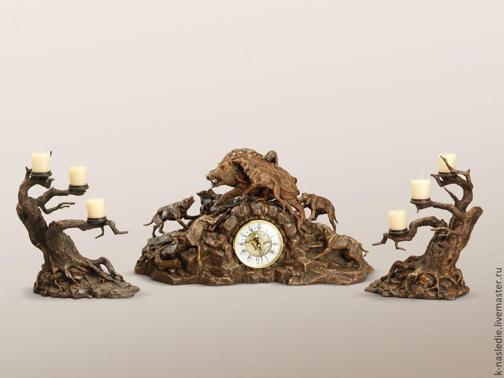 Часы каминные Охота на кабана (каминные часы из бронзы, охотничьи), Часы каминные, Москва,  Фото №1