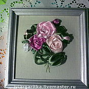 """Картины и панно ручной работы. Ярмарка Мастеров - ручная работа Вышивка лентами """"Розы"""". Handmade."""