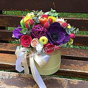 Цветы и флористика ручной работы. Ярмарка Мастеров - ручная работа Цветы в шляпной коробке. Handmade.