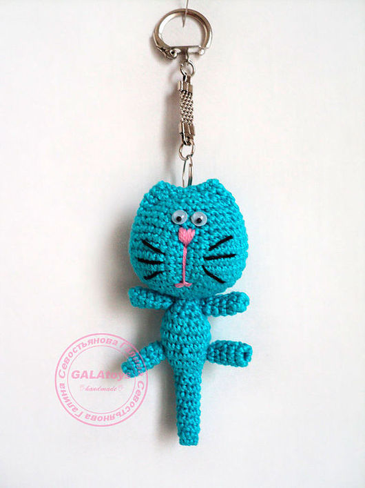 Animal Toys handmade. Livemaster - handmade. Buy Kitty keychain. Knitted..Knitted toy, kitty, the cotton thread