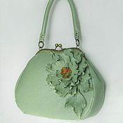 Сумки и аксессуары handmade. Livemaster - original item Green leather Women`s bag with Flowers handbag with clasp Reticule. Handmade.