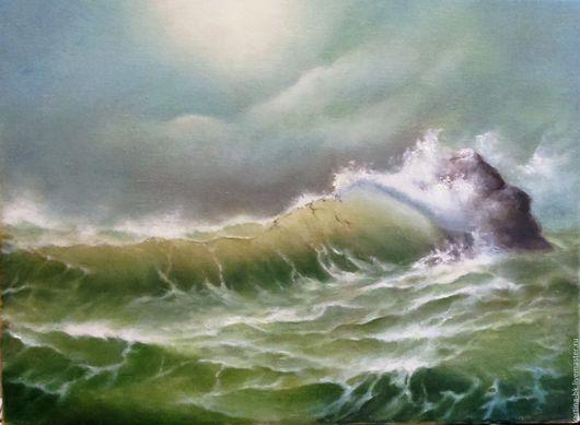 Пейзаж ручной работы. Ярмарка Мастеров - ручная работа. Купить Море, освещенное солнцем. Handmade. Море, солнце, масло
