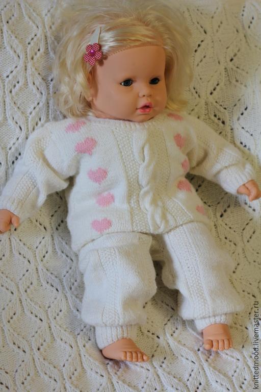 """Одежда для девочек, ручной работы. Ярмарка Мастеров - ручная работа. Купить Комплект """"Сердечки"""". Handmade. Комплект для девочки, Вязаный комплект"""