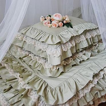 Свадебный салон ручной работы. Ярмарка Мастеров - ручная работа Постельное белье из сатина в стиле шебби шик. Подарок на свадьбу. Handmade.