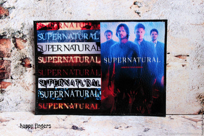 """Кожаная обложка на паспорт """"Supernatural"""", Сверхъестественное красный, Passport cover, Elektrostal,  Фото №1"""