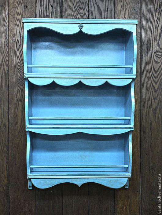 Мебель ручной работы. Ярмарка Мастеров - ручная работа. Купить Полка прованс голубая с золотой патиной. Handmade. Голубой, Мебель