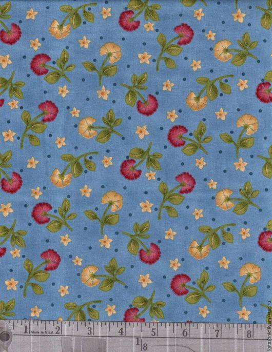 Шитье ручной работы. Ярмарка Мастеров - ручная работа. Купить 1208 Американская ткань. Handmade. Синий, ткань с цветами