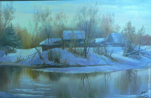 """Пейзаж ручной работы. Ярмарка Мастеров - ручная работа. Купить картина """"Зимняя речка"""". Handmade. Картина, голубой, пейзаж маслом"""