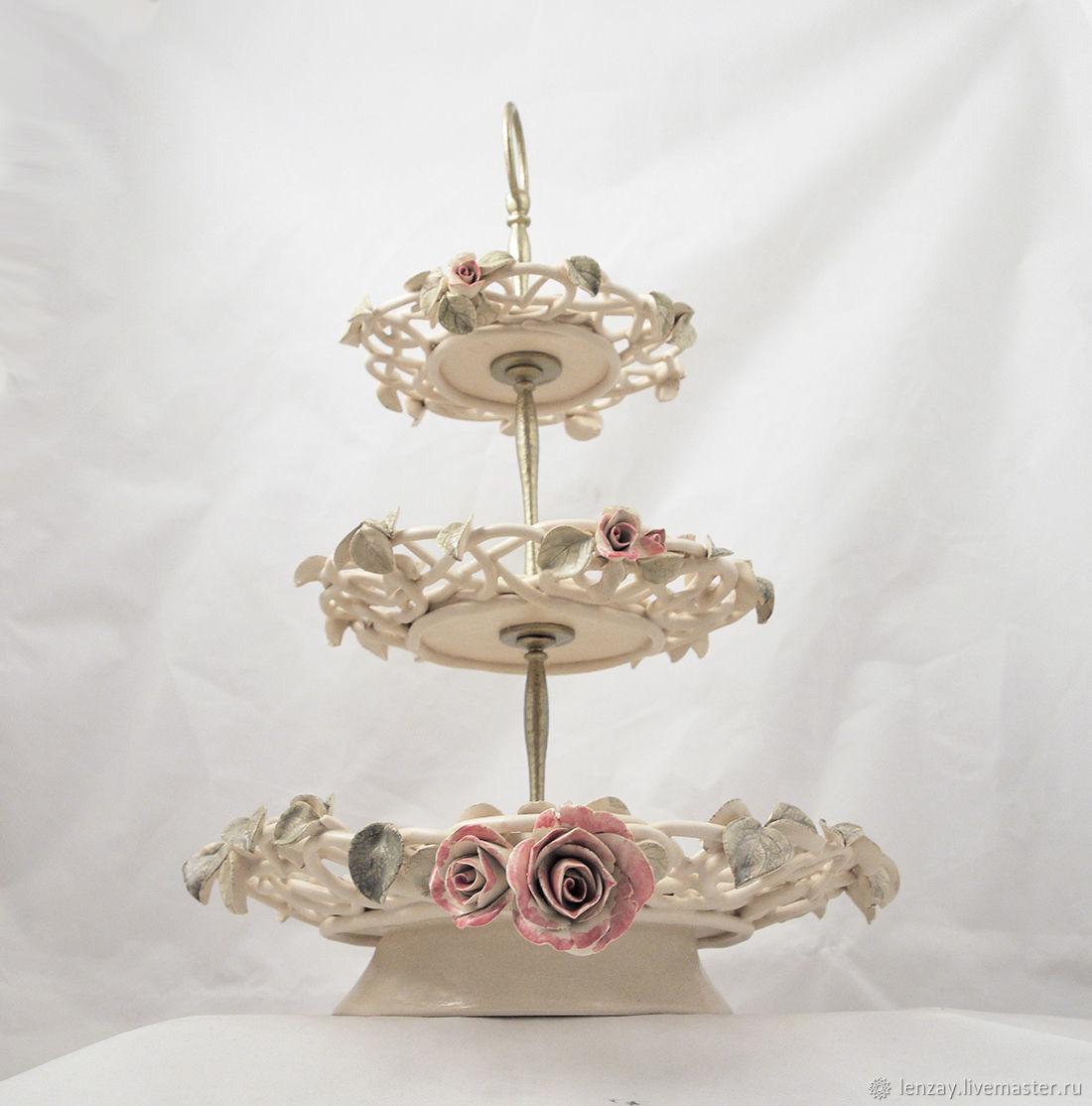 The bottom `Transparency` 3-tier. Braided ceramic and ceramic flowers Elena Zaichenko