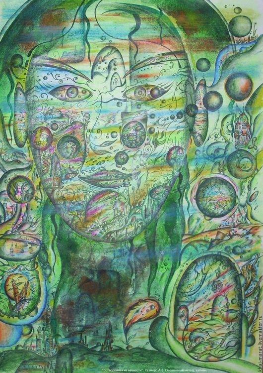 Элементы интерьера ручной работы. Ярмарка Мастеров - ручная работа. Купить Диалог с вселенной.. Handmade. Тёмно-бирюзовый, картина для интерьера
