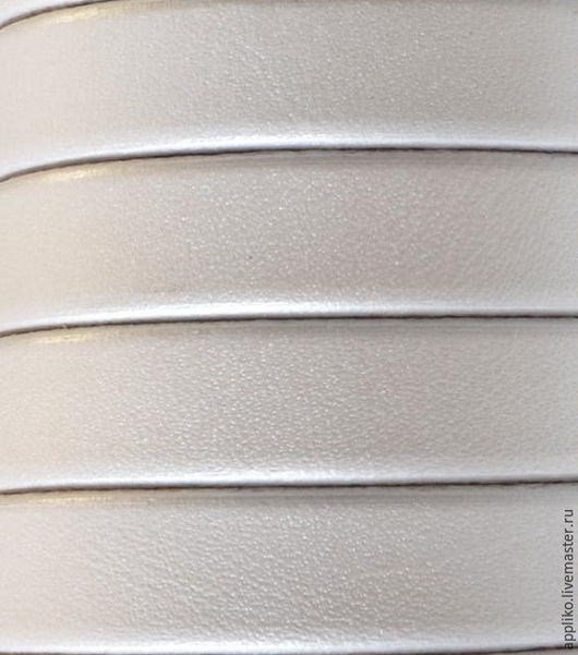 Для украшений ручной работы. Ярмарка Мастеров - ручная работа. Купить КОЖАНЫЙ ШНУР  10х2мм. ЖЕМЧУЖНО-БЕЛЫЙ. Handmade.