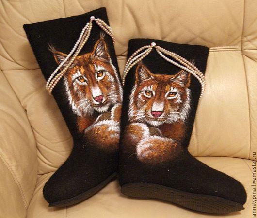 Обувь ручной работы. Ярмарка Мастеров - ручная работа. Купить Рыси. Handmade. Черный, валенки, дизайнерские валенки, зима, подарок