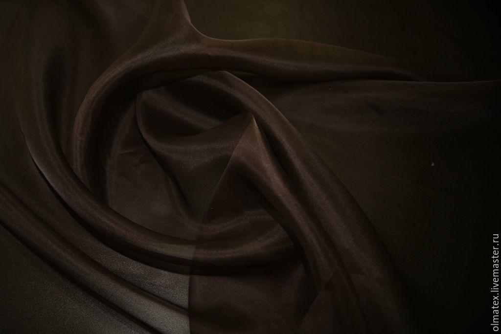 Органза шелковая цвет коричневый, Шитье, Москва, Фото №1