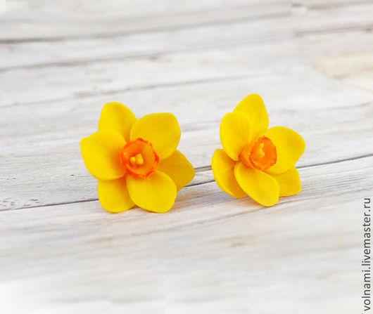 Серьги ручной работы. Ярмарка Мастеров - ручная работа. Купить Нарциссы. Handmade. Желтый, нарцисс, подарок девушке, серьги, термопластика