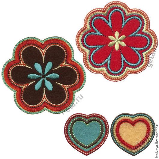 Термоаппликации Цветок т-коричневый - 6 см Цветок красный - 6 см Сердца (пара) - по 31мм