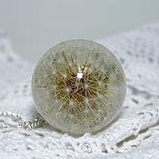Кулон шар 30-35 мм с целым одуванчиком в эпоксидной смоле