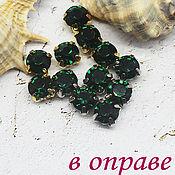 Материалы для творчества handmade. Livemaster - original item Rhinestones 6 mm bezel Emerald. Handmade.