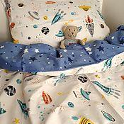 Работы для детей, handmade. Livemaster - original item Bed linen in baby cot space rocket star. Handmade.