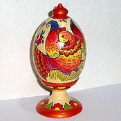 Русский стиль ручной работы. Ярмарка Мастеров - ручная работа Курочка Ряба, яйцо деревянное расписное, 13 см. Handmade.