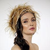 Аксессуары handmade. Livemaster - original item Evening turban hat hijab Beige silk satin with plumage. Handmade.