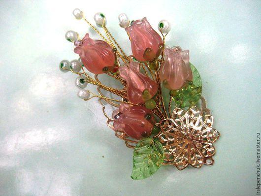 """Броши ручной работы. Ярмарка Мастеров - ручная работа. Купить брошь """"Букет роз"""". Handmade. Бледно-розовый"""