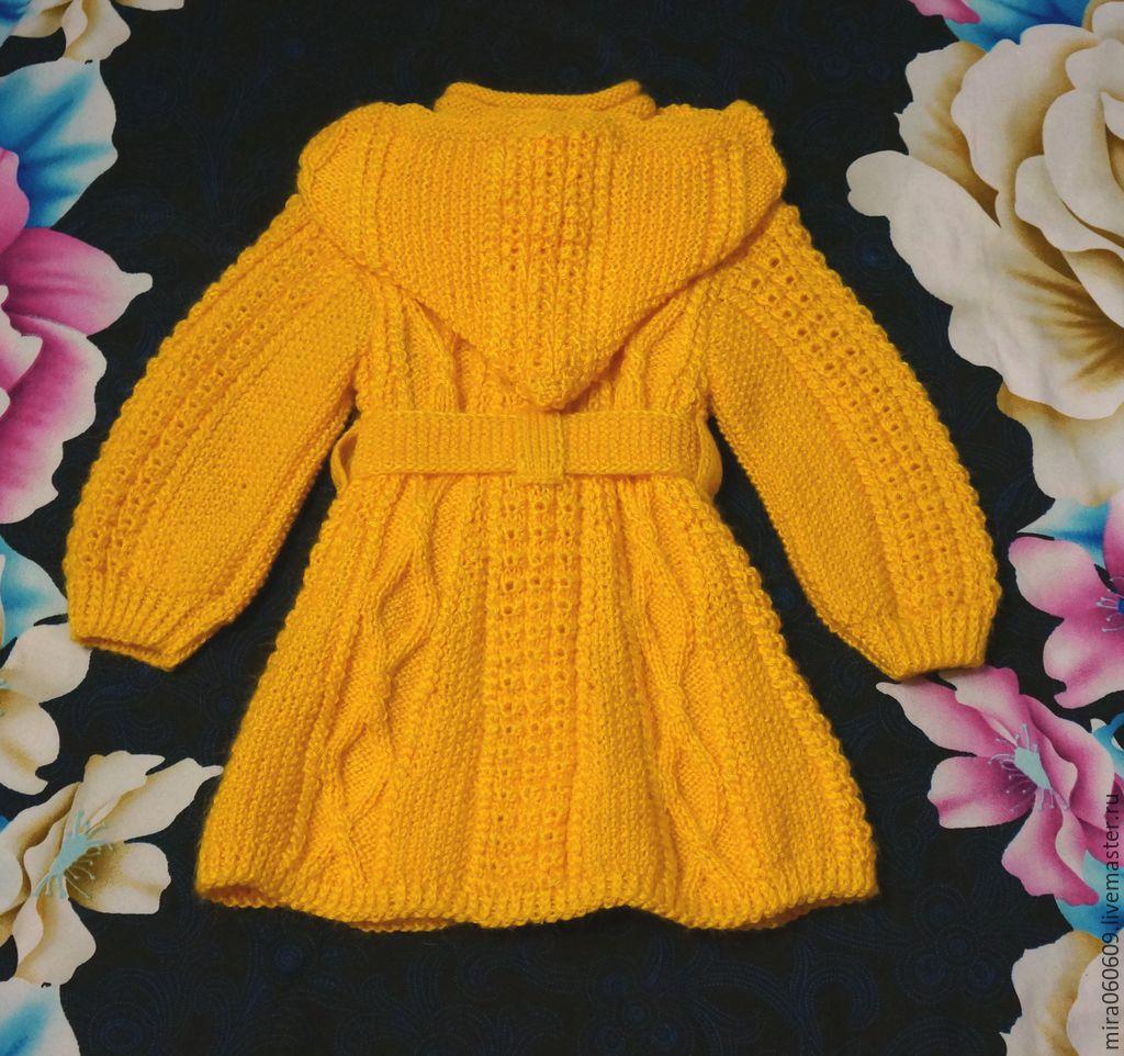 вязаное пальто и беретик для девочки спицами одуванчик купить в
