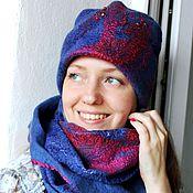 Аксессуары handmade. Livemaster - original item Felted hat and Snood-gossamer