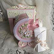 Открытки ручной работы. Ярмарка Мастеров - ручная работа Открытка- коляска коробочке, для поздравления с новорожденной.. Handmade.