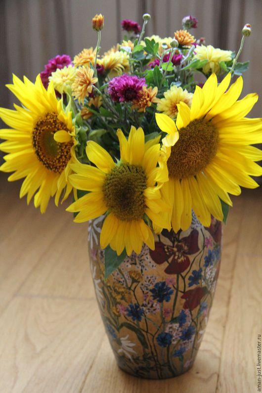 Вазы ручной работы. Ярмарка Мастеров - ручная работа. Купить Ваза Полевые цветы. Handmade. Золотой, маки, васильки, цветы